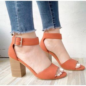 Orange Vegan Leather Sandals with block heels